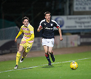 Dundee&rsquo;s Cammy Kerr and Hearts&rsquo; Liam Smith - Dundee v Hearts in the Ladbrokes Scottish Premiership at Dens Park, Dundee. Photo: David Young<br /> <br />  - &copy; David Young - www.davidyoungphoto.co.uk - email: davidyoungphoto@gmail.com