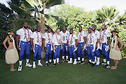 KO OLINA - FEBRUARY 11:  NFC Philadelphia Eagles 2005 NFL Pro Bowl All-Stars (players left to right: Tra Thomas #72, Michael Lewis #32, Brian Dawkins #20, David Akers #2, Terrell Owens #81, Brian Westbrook #36, Jeremiah Trotter #54, Lito Sheppard #26, Donovan McNabb #5, Ike Reese #58) pose with Hawaiian Hula girls for their 2005 NFL Pro Bowl team photo on February 11, 2005 in Ko Olina, Hawaii. ©Paul Anthony Spinelli