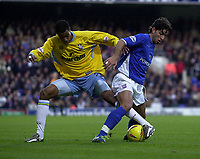 Photo. Glyn Thomas.<br /> Ipswich Town v Crystal Palace. Division 1. <br /> Portman Road, Ipswich. 28/12/2003.<br /> Ipswich's Pablo Counago (R) finds himself on the receiving end of a Julian Gray tackle.