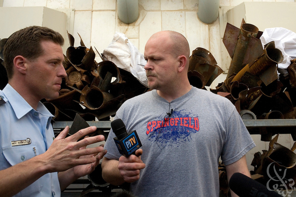 "Samuel J. Wurzelbacher, better known as ""Joe the Plumber"", interviews an Israeli policeman as they examine rockets (seen behind) which have struck the city of Sderot over the last 8 years January 11, 2009 in Sderot, Israel. Wurzelbacher, who rose to fame during the 2008 election after questioning then presidential candidate Barack Obama about his tax plan, is in the region for about 10 days  to report for the conservative web site Pajamas TV (www.pjtv.com.)"