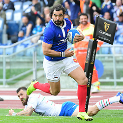 Yoann Huget of France runs in a try during the Guinness Six Nations match between Italy and France on March 16, 2019 in Rome, Italy. (Photo by Dave Winter/Icon Sport)