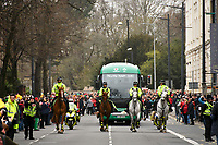 Rugby Union - 2019 Guinness Six Nations Championship - Wales vs. Ireland<br /> <br /> Irish team bus surrflanked by Fans in the streets of Cardiff prior to the match , at the Principality Stadium (Millennium Stadium).<br /> <br /> COLORSPORT/WINSTON BYNORTH