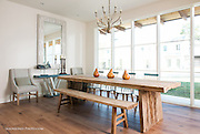 Rustic dining table in modern contemporary home