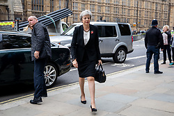 © Licensed to London News Pictures. 06/11/2018. London, UK. British Prime Minister Theresa May arrives for a Service at St Margaret's Church, Westminster to mark the Centenary of the end of the First World War. Parliamentarians from the House of Commons and House of Lords gathered to remember the sacrifices of those parliamentarians, parliamentary officers and staff who gave their lives during the First World War, or who were injured. Photo credit : Tom Nicholson/LNP
