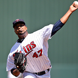 March 13, 2011; Fort Myers, FL, USA; Minnesota Twins starting pitcher Francisco Liriano (47) during a spring training exhibition game against the Philadelphia Phillies at Hammond Stadium.   Mandatory Credit: Derick E. Hingle