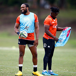 Lukhanyo Am (captain) of the Cell C Sharks with Lwazi Mvovo of the Cell C Sharks during the Cell C Sharks training session from theBox Hill Rugby Union Football Club  RHL Sparks Reserve, Canterbury Rd & Middleborough Road, Box Hill VIC 3128. Melbourne,Australia 20 February 2020. (Photo Steve Haag Sports -Hollywoodbets)