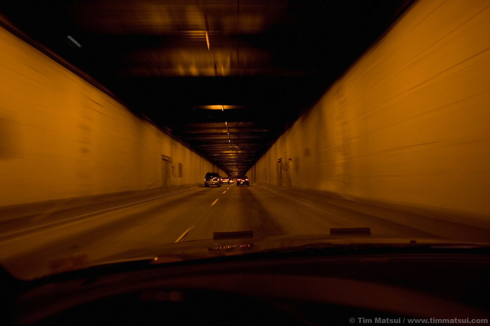 In the Denny Tunnel on highway 99, downtown Seattle.