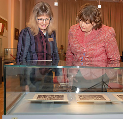 Pictured: Fiona Hyslop and Dr Anette Hagan, Early Printed Collections to 1700 Curator<br /><br />Culture Secretary Fiona Hyslop MSP, today visited the two-day Mary, Queen of Scots exhibition marking the anniversary of the queen's execution. <br />Sally Anderson | EEm Date