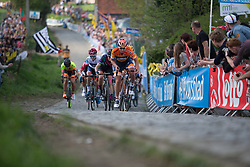 Chantal Blaak (NED) of Boels-Dolmans Cycling Team leads the charge of the chasing group on the Paterberg during the Ronde Van Vlaanderen - a 153.2 km road race, starting and finishing in Oudenaarde on April 2, 2017, in East Flanders, Belgium.