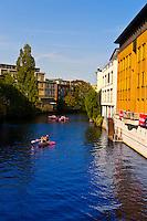 Canoeing on a canal, Hamburg, Germany