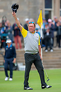 Miguel Angel Jimenez, winner of the Rolex Senior Golf Open at St Andrews, West Sands, Scotland on 29 July 2018. Picture by Malcolm Mackenzie.