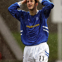 St Johnstone v St Mirren...11.02.06.<br />Paul Sheerin reacts after his shot hits the post<br /><br />Picture by Graeme Hart.<br />Copyright Perthshire Picture Agency<br />Tel: 01738 623350  Mobile: 07990 594431