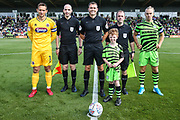 Captains, officials and mascot during the EFL Sky Bet League 2 match between Forest Green Rovers and Grimsby Town FC at the New Lawn, Forest Green, United Kingdom on 17 August 2019.