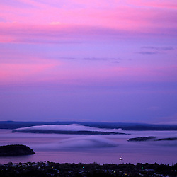 Acadia N.P., ME. Sunset from Cadillac Mountain. Frenchman Bay. Porcupine Islands.