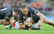 Jonny Lomax of England tackled by Jared Waerea-Hargreaves of  New Zealand during the Autumn International Series match at Anfield, Liverpool<br /> Picture by Stephen Gaunt/Focus Images Ltd +447904 833202<br /> 04/11/2018