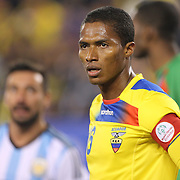 Antonio Valencia, Ecuador, in action during the Argentina Vs Ecuador International friendly football match at MetLife Stadium, New Jersey. USA. 15th November 2013. Photo Tim Clayton