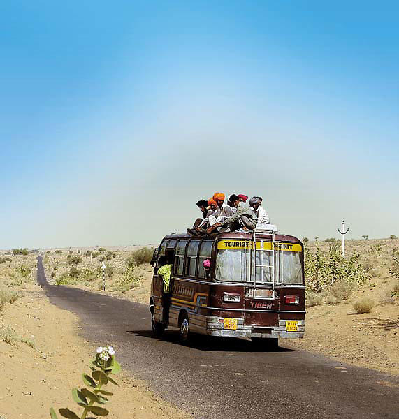 Bus plying from Barmer to Munabao in Rajasthan. Munabao being the last village from Indian outpost. where India & Pakistan shares an international border in Rajasthan-Sindh province.