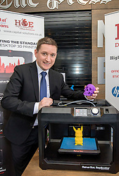 #hellodigital Extra 2017 event, held at Eden Court in Inverness.<br /> <br /> Pictured: George Lowe (HOE Digital) with a desktop 3D printer<br /> <br /> Malcolm McCurrach | EEm | Mon, 20, February, 2017