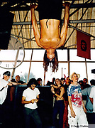 Man hanging from the ceiling Ibiza 1998