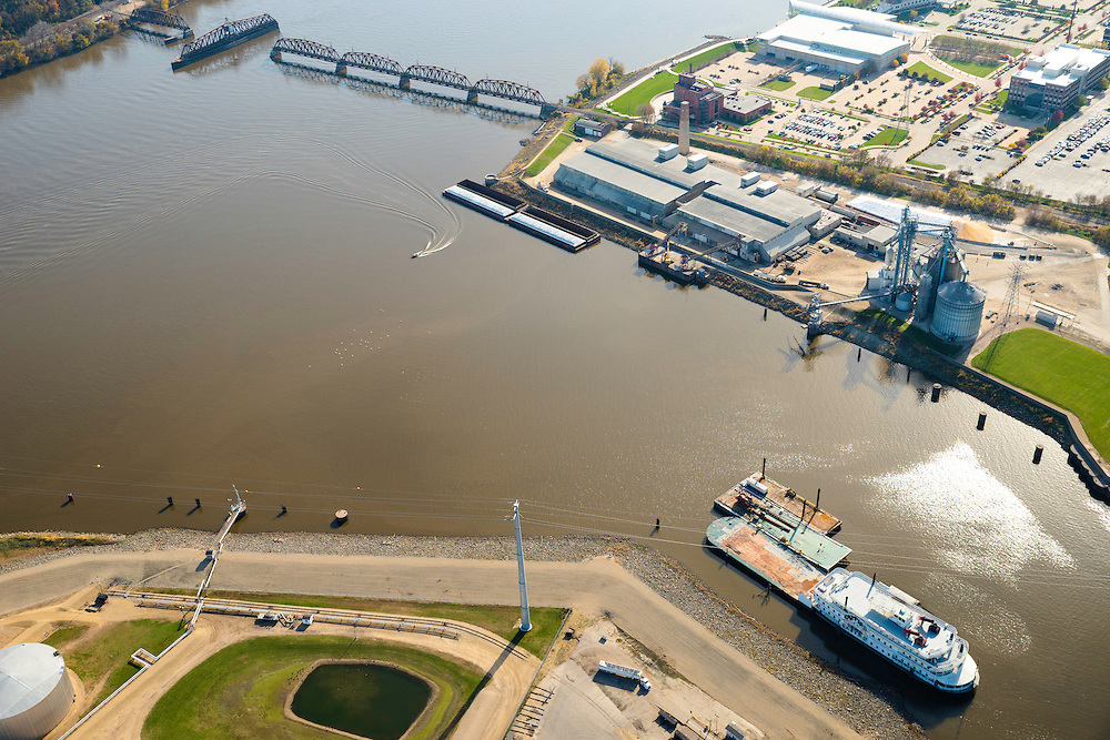 Aerial view of Dubuque, Iowa and the Mississippi River, and the swinging railroad bridge.