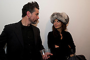 ZACH ROCKHILL; ZOE WOLFF, 'Engagement' exhibition of work by Jennifer Rubell. Stephen Friedman Gallery. London. 7 February 2011. -DO NOT ARCHIVE-© Copyright Photograph by Dafydd Jones. 248 Clapham Rd. London SW9 0PZ. Tel 0207 820 0771. www.dafjones.com.