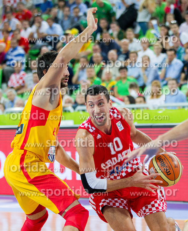 Ricky Rubio #9 of Spain vs Roko Leni Ukic #10 of Croatia during basketball match between National teams of Spain and Croatia in 3rd Place game at Day 19 of Eurobasket 2013 on September 22, 2013 in Arena Stozice, Ljubljana, Slovenia. (Photo by Vid Ponikvar / Sportida)