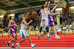 16.03.2019, SPH Walfersam, Kapfenberg, AUT, Admiral BBL, Kapfenberg Bulls vs Vienna D.C. Timberwolves, 29. Runde, im Bild v.l.: Julien Hoerberg (Vienna D.C. Timberwolves), Elijah Wilson (Kapfenberg Bulls), Marck Coffin (Kapfenberg Bulls), Nemanja Nikolic (Vienna D.C. Timberwolves) // during the Admiral Basketball league, 29th round match between Kapfenberg Bulls and Vienna D.C. Timberwolves at the SPH Walfersam in Kapfenberg, Austria on 2019/03/16. EXPA Pictures © 2019, PhotoCredit: EXPA/ Dominik Angerer