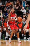 January 22, 2009: Tia Bell of the North Carolina State Wolfpack in action during the NCAA basketball game between the Miami Hurricanes and the North Carolina State Wolfpack. The 'Canes defeated the Wolfpack 72-60.
