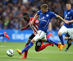 Leicester City's Marc Albrighton tackles Southampton's Sadio Mane - Photo mandatory by-line: Robbie Stephenson/JMP - Mobile: 07966 386802 - 09/05/2015 - SPORT - Football - Leicester - King Power Stadium - Leicester City v Southampton - Barclays Premier League