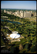 Aerial of Forest Park with Science Center in foreground, St Louis Medical Center in background. Missouri