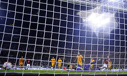 MILAN, Sept. 1, 2018  AC Milan's Patrick Cutrone (2nd R) scores the second goal during a Serie A soccer match between AC Milan and AS Roma in Milan, Italy, Aug. 31, 2018. AC Milan won 2-1. (Credit Image: © Alberto Lingria/Xinhua via ZUMA Wire)