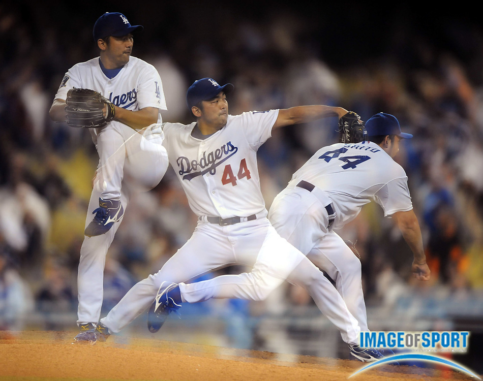 May 6, 2008; Los Angeles, CA, USA; Multiple exposure of Los Angeles Dodgers reliever Takashi Saito (44) pitching in the ninth inning of 5-4 victory over the New York Mets at Dodger Stadium.