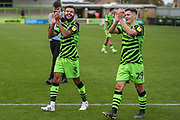Forest Green Rovers Dominic Bernard(3) and Forest Green Rovers Jack Aitchison(29), on loan from Celtic during the EFL Sky Bet League 2 match between Forest Green Rovers and Crawley Town at the New Lawn, Forest Green, United Kingdom on 5 October 2019.