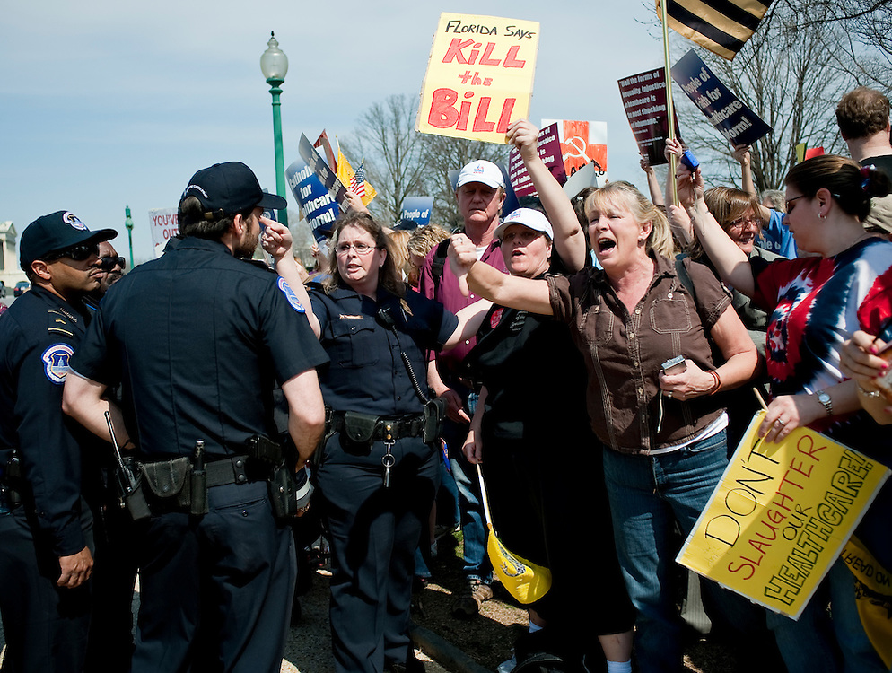 Mar 21,2010 - Washington, District of Columbia USA - .Washington, D.C..Demonstrators on both sides of the Healh Care issue protest outside of the Capitol on Sunday in advance of a vote by the U.S. House.(Credit Image: © Pete Marovich/ZUMA Press)