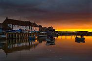 Burnham Overy quay at sunset, Norfolk, Uk