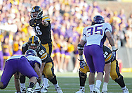 September 15 2012: Iowa Hawkeyes quarterback James Vandenberg (16) points to the defense during the second half of the NCAA football game between the Northern Iowa Panthers and the Iowa Hawkeyes at Kinnick Stadium in Iowa City, Iowa on Saturday September 15, 2012. Iowa defeated Northern Iowa 27-16.