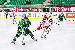04.01.2015, Hala Tivoli, Ljubljana, SLO, EBEL, HDD Telemach Olimpija vs HC TWK Innsbruck, 35. Runde, in picture Anze Ropret (HDD Telemach Olimpija, #29) and Kenneth Macaulay (HC TWK Innsbruck, #26) during the Erste Bank Icehockey League 35. Round between HDD Telemach Olimpija and HC TWK Innsbruck at the Hala Tivoli, Ljubljana, Slovenia on 2015/01/04. Photo by Matic Klansek Velej / Sportida