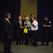 September , 2016 - Asheville, North Carolina, United States:  Former mayor of New York City, Rudy Guliani, who introduced the Republican presidential candidate, Donald Trump, holds the hand of a woman who passed out during the nominee's speech. As campaign staff came to the womans aide, Trump interrupted his speech and walked off the stage to make sure she was OK.   (Logan R Cyrus/ Polaris)