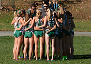 New York, New York - Runners and coaches from Dartmouth College huddle before the Ivy League Heptagonal women's<br />