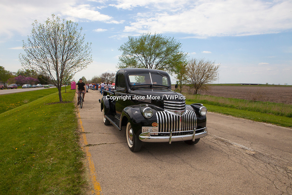A 1947 Chevrolet truck riding on he historic U.S. Route 66.  The Mother Road starts in Chicago traveling through 6 states and ending in Santa Monica, California.