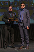 KELOWNA, CANADA - MARCH 19:  Most Valuable Player Award presented to Calvin Thurkauf by Noel Anderson at the Kelowna Rockets Awards Ceremony on March 19, 2017 at the Kelowna Community Theater in Kelowna, British Columbia, Canada.  (Photo By Cindy Rogers/Nyasa Photography,  *** Local Caption ***