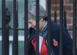 © Licensed to London News Pictures. 29/10/2018. London, UK. Prime Minister Theresa May arrives at the back of Downing Street. Later today the Chancellor will deliver his Autumn Budget to Parliament. Photo credit: Peter Macdiarmid/LNP