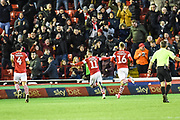 Hatrick. Conor Chaplin of Barnsley FC scores his third goal during the EFL Sky Bet Championship match between Barnsley and Queens Park Rangers at Oakwell, Barnsley, England on 14 December 2019.