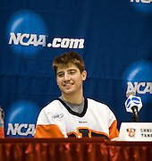 2010/03/26 - RIT's Chris Tanev speaks during the press conference after RIT upset #2 overall seed Denver University 2-1 on Friday, March 26th at the Times Union Center in Albany, N.Y.