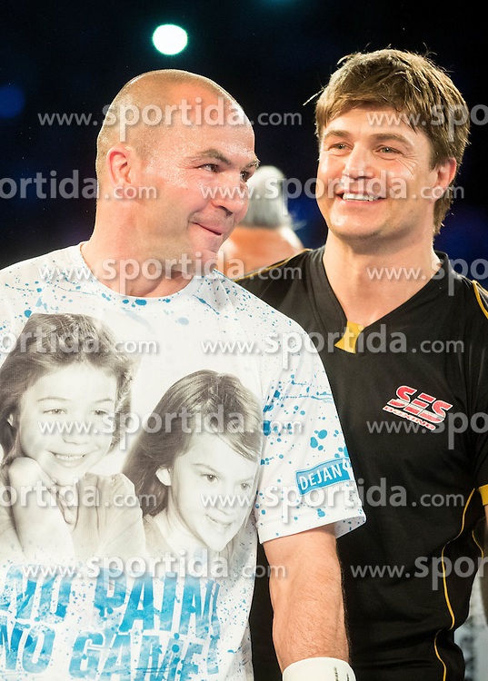 Dejan Zavec alias Jan Zaveck of Slovenia and his coach Dirk  Dzemski prior to the fight against Sasha Yengoyan (Blue) of Belgium for World WBF Champion during First Class Boxing event, on April 11, 2015 in Arena Tabor, Maribor, Slovenia. Photo by Vid Ponikvar / Sportida