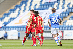 Kieran Agard of Milton Keynes Dons shows his frustration as he throws the ball down - Mandatory by-line: Arron Gent/JMP - 27/04/2019 - FOOTBALL - JobServe Community Stadium - Colchester, England - Colchester United v Milton Keynes Dons - Sky Bet League Two