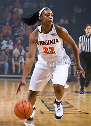 Virginia guard Monica Wright (22) in action against High Point.  The #15 ranked Virginia Cavaliers defeated the High Point Panthers 78-48 in NCAA Women's Division 1 Basketball at the John Paul Jones Arena on the Grounds of the University of Virginia in Charlottesville, VA on November 14, 2008.