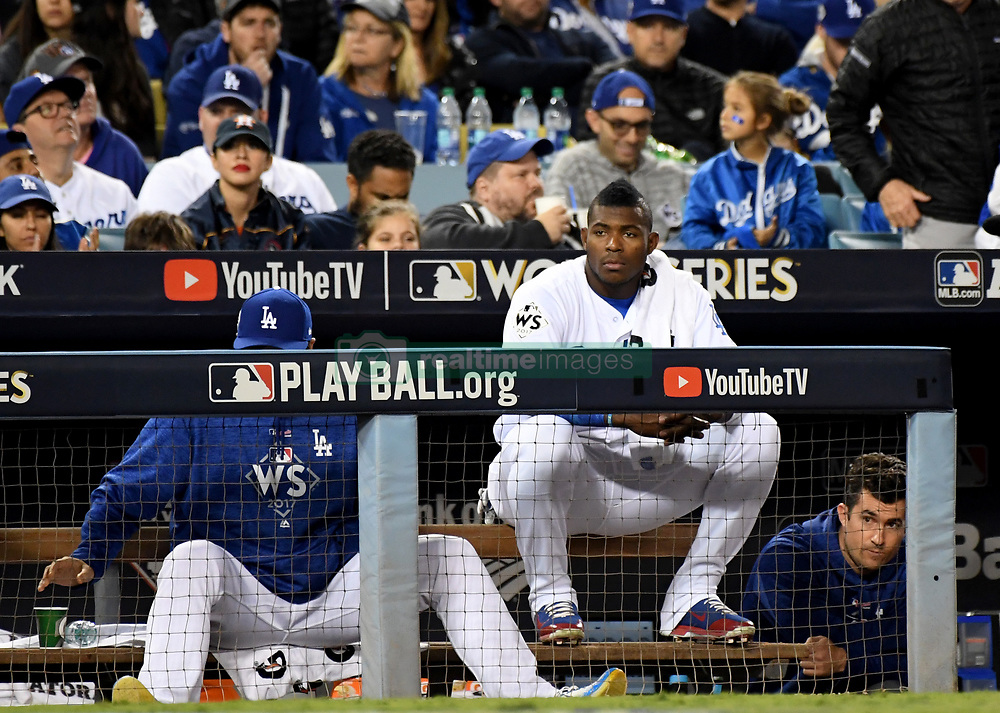 November 1, 2017 - Los Angeles, CA, USA - Los Angeles Dodgers' Yasiel Puig (66) looks on in the 8th inning of game seven of a World Series baseball game at Dodger Stadium on Wednesday Nov. 1, 2017 in Los Angeles. (Credit Image: © Keith Birmingham/Los Angeles Daily News via ZUMA Wire)