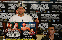 Dec 12,2012. Los Angeles CA. USA.. Amir Khan at Los Angeles press conference on his upcoming fight this Saturday with Carlos Molina(R.). The fight will be scene on ShowTime live from the Los Angeles Sports Arena Saturday  Dec 10th. Photo by Gene Blevins/LA Daily News