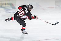KELOWNA, CANADA -FEBRUARY 25: Klarc Wilson #16 of the Prince George Cougars warms up against the Kelowna Rockets on February 25, 2014 at Prospera Place in Kelowna, British Columbia, Canada.   (Photo by Marissa Baecker/Getty Images)  *** Local Caption *** Klarc Wilson;